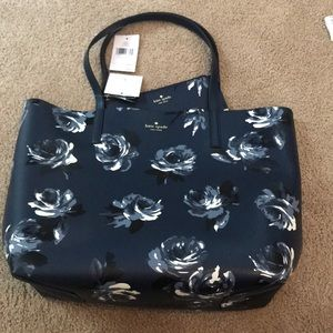 Kate Spade navy reversible floral leather tote